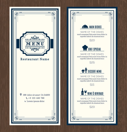 Restaurant or cafe menu vector design template with vintage retro art deco frame style Illusztráció