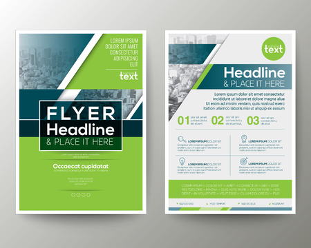 Green and Blue Geometric background Poster Brochure leaflet design Layout template in A4 size