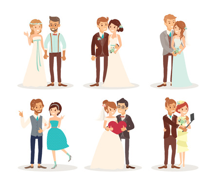 cute wedding couple bride and groom cartoon illustration Vettoriali
