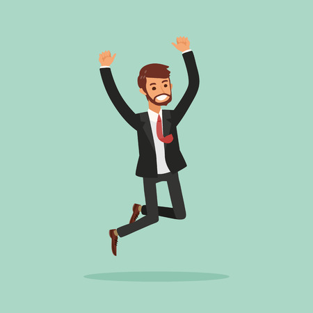 happy business man: isolated happy business man jumping illustration