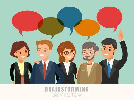 happy business team: happy business team brainstorming cartoon illustration