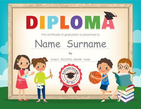 Modèle de conception de fond de certificat de diplôme scolaire enfants