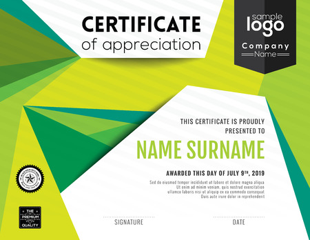 certificate design: Modern certificate with green polygonal background design template