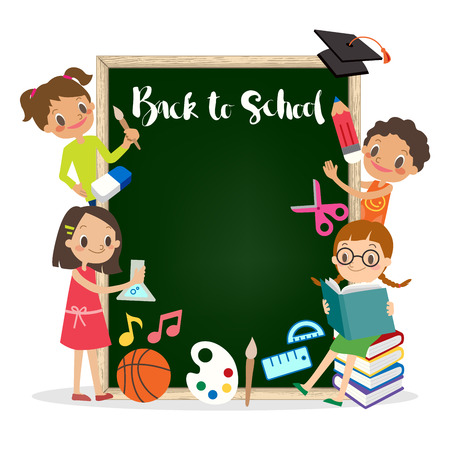 school kids: back to school chalkboard background with group of children illustration