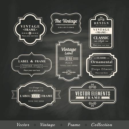 ビンテージ フレーム黒板レトロ背景カリグラフィのデザイン要素の設定  イラスト・ベクター素材
