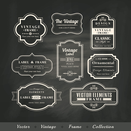 black boards: vintage frame set on chalkboard retro background calligraphic design elements