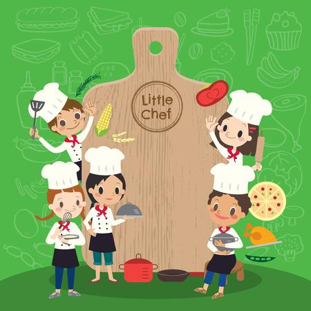 grupa młodych kuchni z dziećmi topór dzieci kreskówki Ilustracje wektorowe