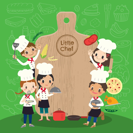 niños cocinando: grupo de joven chef con la ilustración de los niños tajo niños de dibujos animados Vectores