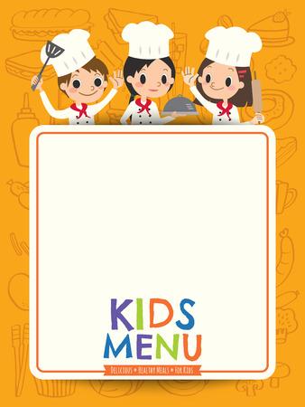 dinner jacket: kids menu young chef children with blank menu board cartoon illustration