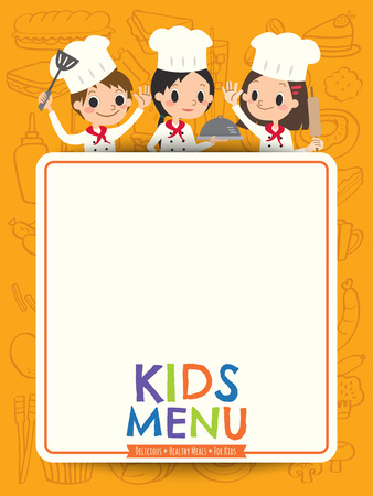 kids menu young chef children with blank menu board cartoon illustration