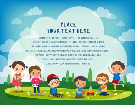 niños jugando en el parque: niños jugando en el parque de la ilustración de dibujos animados