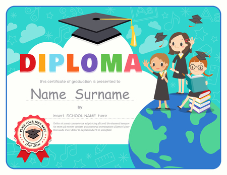 primary school: Primary School Kids Graduation Diploma certificate background design template Illustration