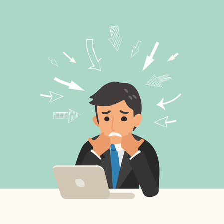 businessman sitting at an office desk and working on laptop with drawn arrows pointing, business problem concept illustration