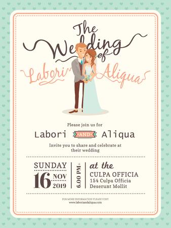 blue dress: wedding couple groom and bride cartoon wedding invitation card template