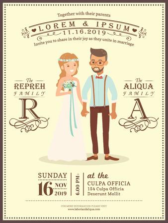 novio lindo par de la boda y la plantilla de tarjeta de invitación de boda de dibujos animados novia