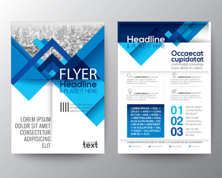 Abstract blue geometric background for Poster Brochure design Layout template in A4 size Vettoriali