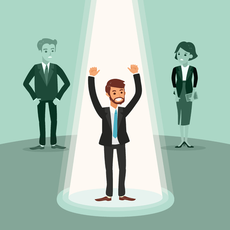 successful businessman: cheerful businessman with arms up under spotlight, successful career conceptual vector illustration