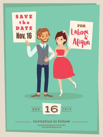 couple date: cute wedding couple groom and bride cartoon wedding invitation card  save the date card template