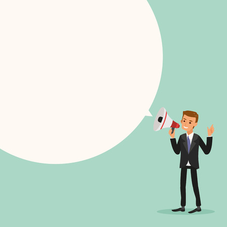 advertisements: Businessman on megaphone make an announcement with bubble speech cartoon vector illustration