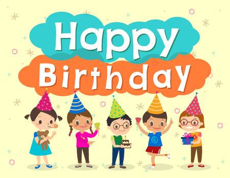 felices los niños la fiesta de cumpleaños de dibujos animados plantilla de diseño Ilustración de vector