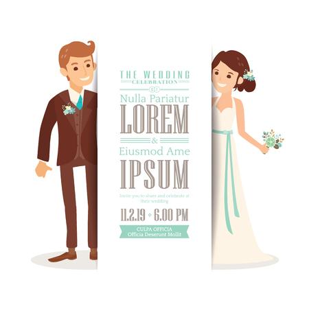 pareja casada: Pares de la boda del novio y de la novia de dibujos animados sobre fondo blanco, plantilla de la tarjeta de invitación de boda