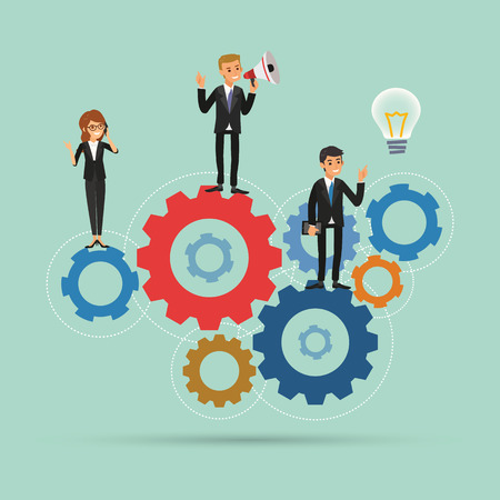 teamwork works together concept vector illustration with gear system