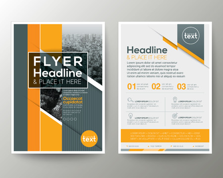 leaflet design: Grey and Orange Geometric background Poster Brochure Flyer leaflet design Layout vector template in A4 size
