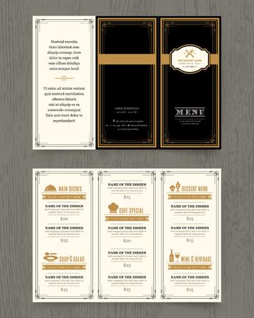 pamphlet: Vintage Restaurant menu design pamphlet vector template in A4 size Tri fold Illustration