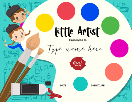 little artist, kids diploma child painting course certificate template with art palette background Vectores