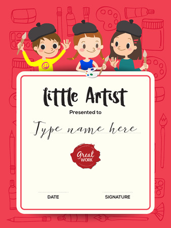 little artist, kids diploma child painting course certificate template