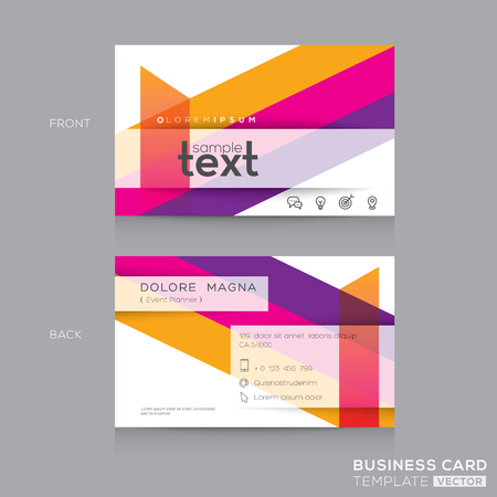 banding: Business cards Design Template with abstract colorful banding shape background