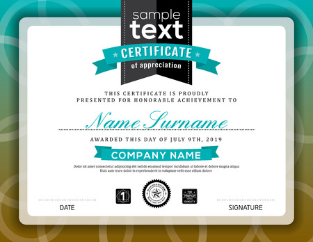 Simple certificate of appreciation border background frame design template Vettoriali