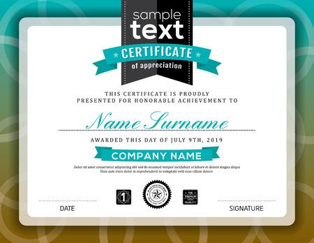 Simple certificate of appreciation border background frame design template Vectores