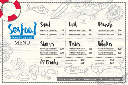 placemat: seafood restaurant placemat menu design vector template with hand drawn graphic on wood texture background