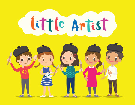 children painting: little artist, isolated kids children with painting tools cartoon character vector illustration