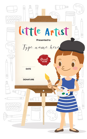 child standing: little artist cartoon standing in front of wooden easel with painting tools doodle in background, kids diploma child painting course certificate template