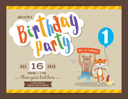 party design: happy birthday party card design vector template