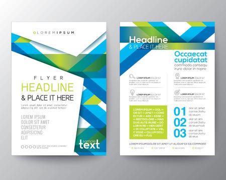 Abstracte blauwe en groene achtergrond voor Poster Brochure Flyer ontwerp lay-out vector sjabloon in A4-formaat