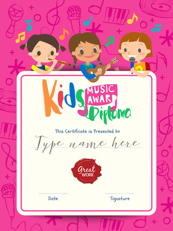 children musical diploma music award template with kids cartoon vector illustration