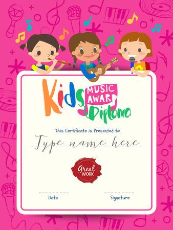 Kinderen muziek diploma muziek award sjabloon met kids cartoon vector illustratie