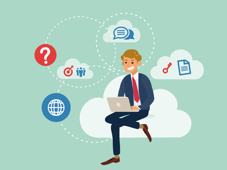 man using laptop: young business man using a laptop sitting on a cloud with cloud computing technology concept cartoon illustration