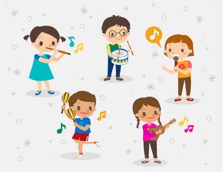 instrumentos musicales: Vector ilustración de dibujos animados de niños jugando diferentes instrumentos musicales