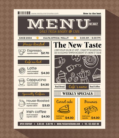 restaurant cafe menu design template in newspaper style Stock Illustratie