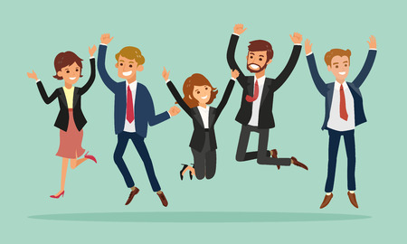 business people jumping celebrating success vector cartoon illustration