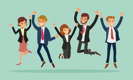 personas saltando: empresarios de saltar de celebrar el éxito de dibujos animados de vectores