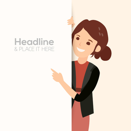 happy business woman: happy smiling business woman point her finger at a blank board vector illustration