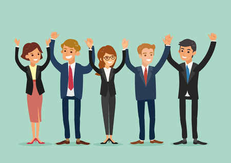success business: happy business team standing and holding hands together vector cartoon illustration