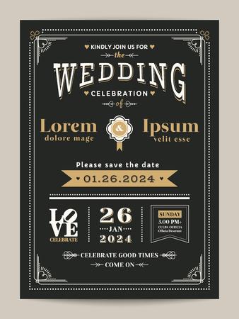 Tarjeta de invitación de boda vintage con color negro y dorado.