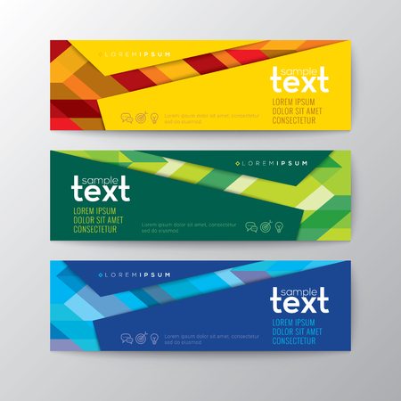 Set of modern design web banners template with abstract colorful line pattern background