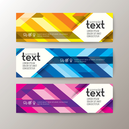 banding: Set of modern design web banners template with abstract colorful line stripe pattern background